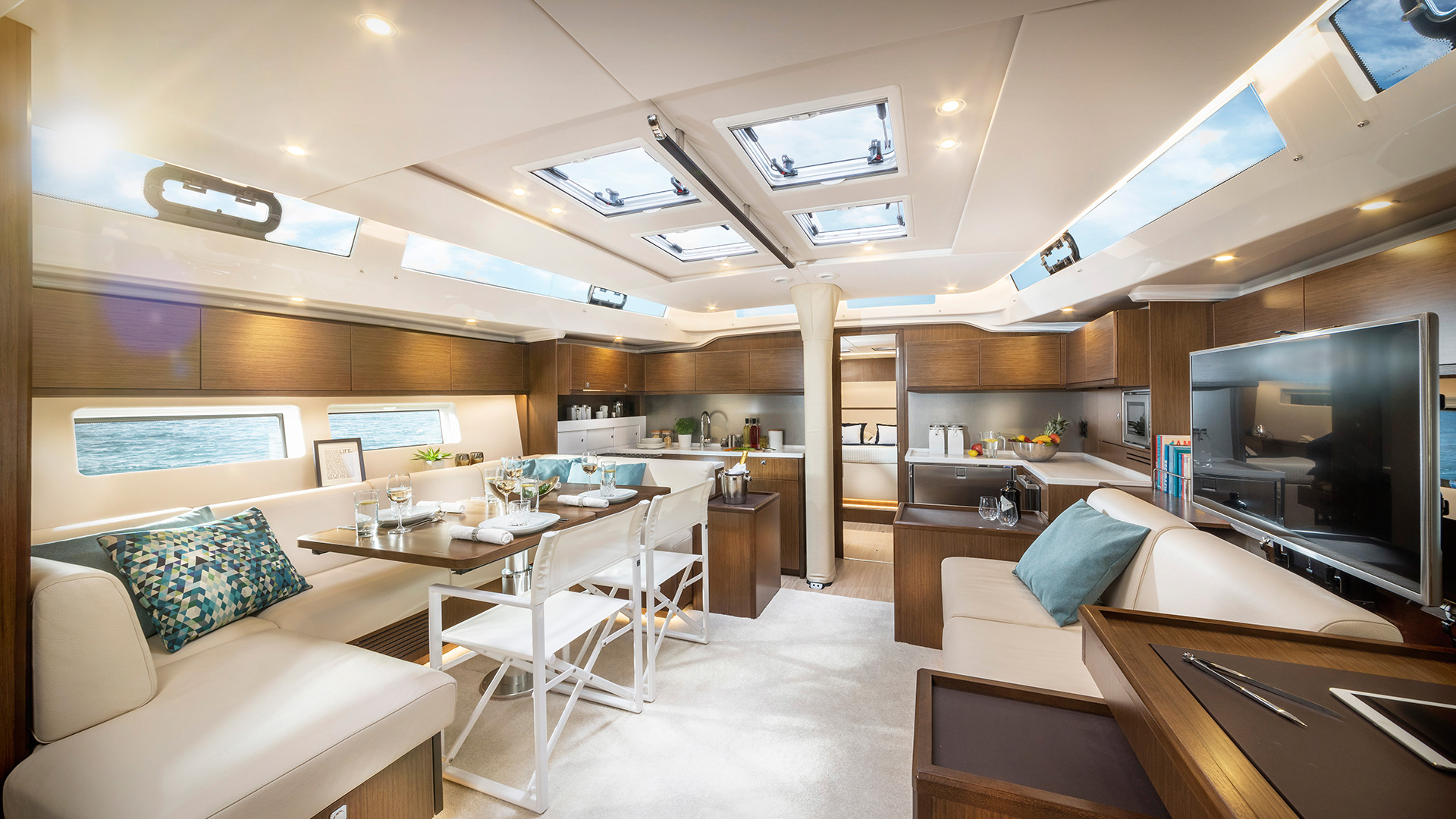 luxury sailing yacht bavaria c57 interior, bluemotion yacht charter, sailing in croatia, luxury sailing holidays